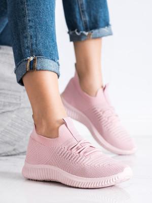 Trendy růžové dámské  tenisky bez podpatku
