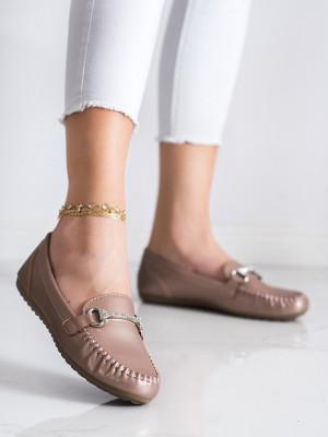 Módní dámské zlaté  mokasíny bez podpatku