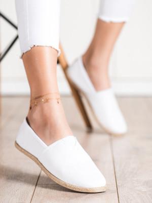 Designové bílé  tenisky dámské bez podpatku