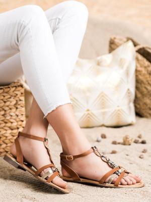 Zajímavé  sandály dámské hnědé na plochém podpatku