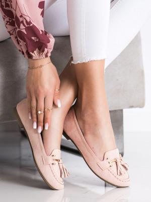 Stylové růžové  mokasíny dámské bez podpatku