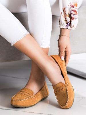 Trendy hnědé  mokasíny dámské bez podpatku