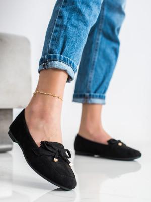 Luxusní černé dámské  mokasíny bez podpatku