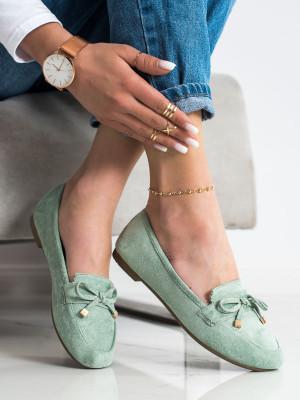 Trendy dámské zelené  mokasíny bez podpatku