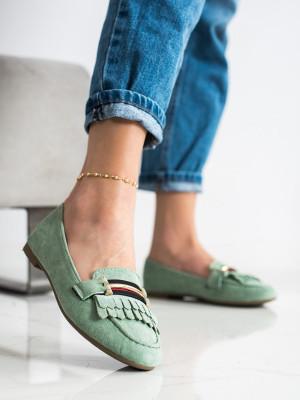 Pěkné zelené dámské  mokasíny bez podpatku