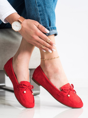 Stylové dámské  mokasíny červené bez podpatku