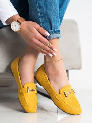Praktické dámské zlaté  mokasíny bez podpatku