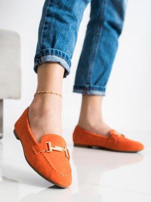 Krásné  mokasíny dámské oranžové bez podpatku