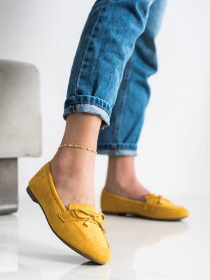 Zajímavé dámské  mokasíny zlaté bez podpatku