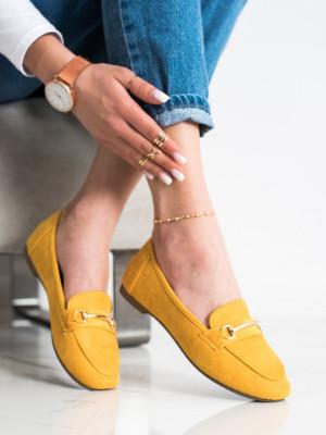 Trendy  mokasíny dámské zlaté bez podpatku