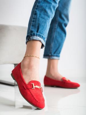 Praktické dámské  mokasíny červené bez podpatku