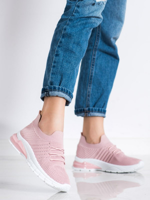 Exkluzívní  tenisky růžové dámské bez podpatku