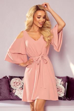 MARINA - Vzdušné dámské šaty v pudrově růžové barvě s dekoltem 292-5
