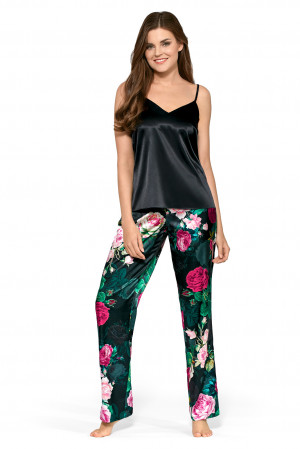 Dámské pyžamo Alicja - Babella zelená s květy