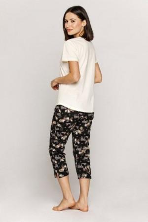 Cana 554 Dámské pyžamo 3XL 3XL vanilkovo-černá
