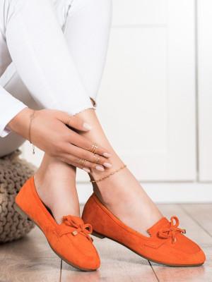 Trendy dámské oranžové  mokasíny bez podpatku