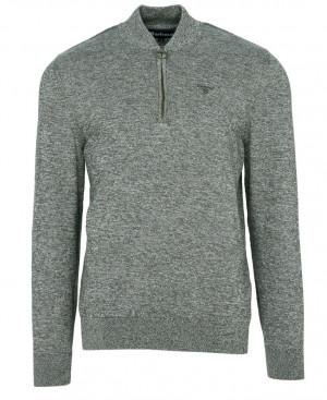 Lehký sportovní svetr Barbour Half Zip Sweater - tmavě zelený