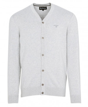 Bavlněný cardigan Barbour - světle šedý