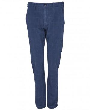Kostkované kalhoty Barbour Essential Overdyed Check Trousers - modré