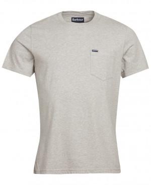 Tričko s náprsní kapsičkou Barbour Logo Pocket - šedé