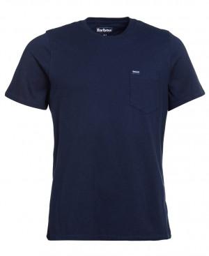 Tričko s náprsní kapsičkou Barbour Logo Pocket - navy