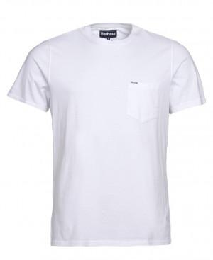 Tričko s náprsní kapsičkou Barbour Logo Pocket - bílé