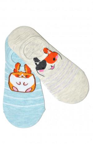 Dámské ponožky baleríny WiK Midini 81132 Koťátka A'2 béžově modrá 36-38
