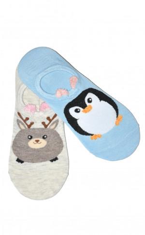 Dámské ponožky baleríny WiK Midini 0144 Small Animal A'2 béžově modrá 36-38