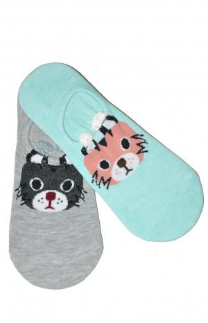 Dámské ponožky baleríny WiK Midini 81018 Kocourci A'2 béžovo-růžová 36-38