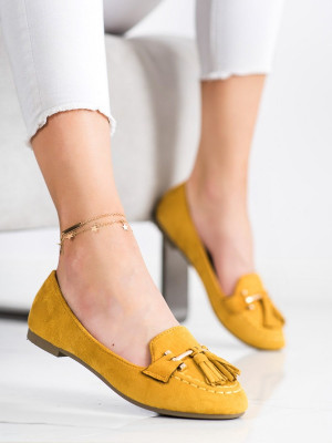 Jedinečné dámské zlaté  mokasíny bez podpatku