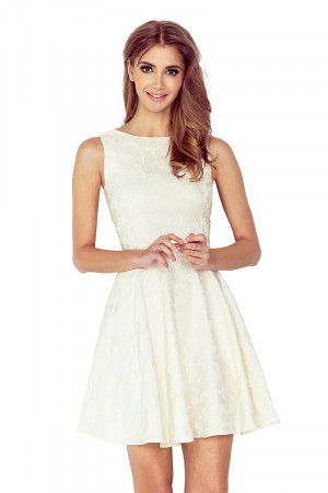Okrové kolové šaty s lodičkovým výstřihem model 5039906