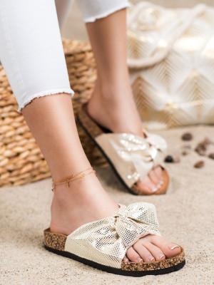 Krásné dámské  nazouváky zlaté bez podpatku
