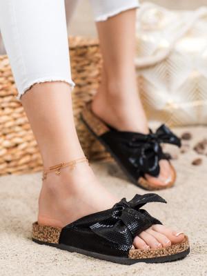 Jedinečné  nazouváky dámské černé bez podpatku