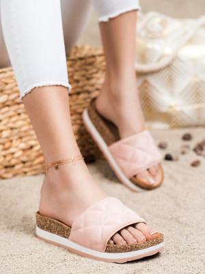 Trendy růžové dámské  nazouváky bez podpatku
