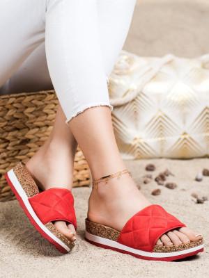 Designové  nazouváky dámské červené bez podpatku