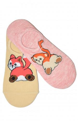 Dámské ponožky baleríny WiK Midini 81161 Fat Animal A'2 růžový krém 39-41