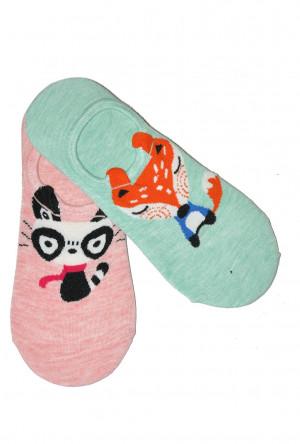 Dámské nízké ponožky Baleriny WiK Midini 81169 Animal A'2 mátově růžová 36-38