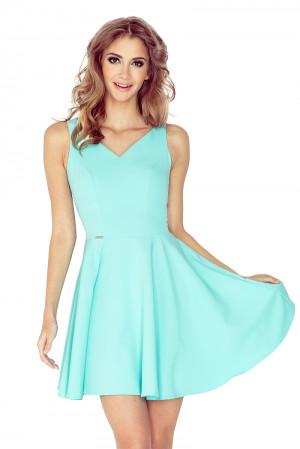 Dámské kolové šaty v mátové barvě s výstřihem ve tvaru srdíčka MM 014-4