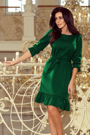 MAYA - Dámské šaty v lahvově zelené barvě s volánky a páskem 193-8