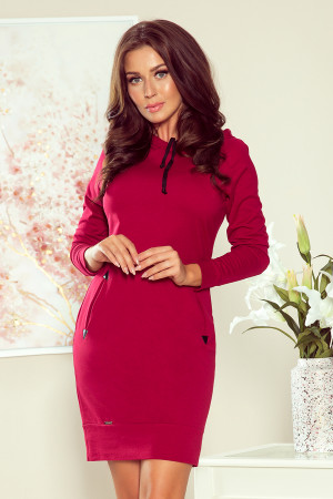 ELSA - Dámské šaty ve vínové bordó barvě s kapucí 260-1