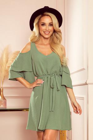 MARINA - Vzdušné dámské šaty v olivové barvě s dekoltem 292-6