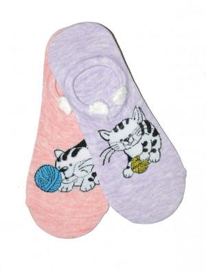 Dámské nízké ponožky WiK Midini 81177 Wool Ball A'2 béžová-fialová 36-38