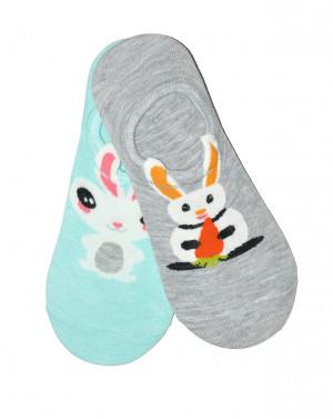 Dámské nízké ponožky WiK Midini 81174 Funny Bunny A'2 béžová-fialová 36-38