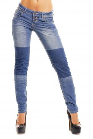 Dámské džíny značkové elastické SUBLEVEL 8731 BL zdobené pruhem na nohavici se třemi knoflíky modré - Modrá / L - Sublevel