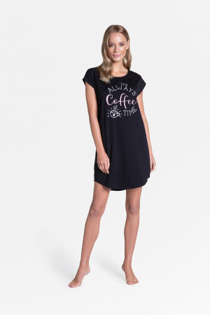 Dámská noční košile 38908 Truth - Henderson Ladies černá s potiskem