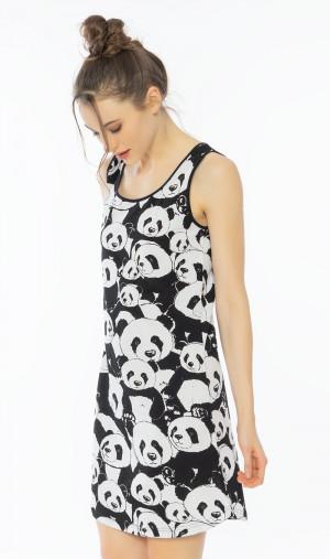 Dámská noční košile na ramínka Pandy - Vienetta černo - bílá