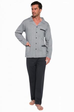 Cornette 114/46 rozepínané Pánské pyžamo 3XL světle šedá