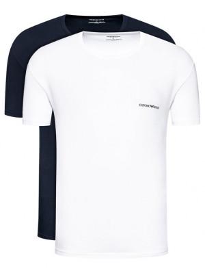 Pánské tričko 2pcs 111267 1P717 17135 tmavě modrá/bílá - Emporio Armani bílá-tm.modrá