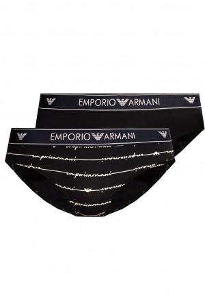 Dámské kalhotky 163334 1P219 03937 námořnická modrá - 2 pack - Emporio Armani navy blue