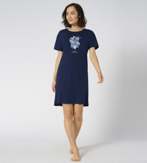 Dámská noční košile Nightdresses Triumph tmavě modrá tmavá kombinace modré (M008) 0046